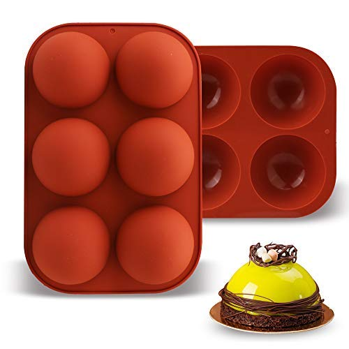 Upgraded Silicone Mold Set of 2 for Baking Hot Chocolate Bomb, Round Half Sphere Circle Cake Bread Food Grade Ice Cream Mousse Muffin Jelly Candy Soap Durable Mold Set Kit with 6 Big Cavity