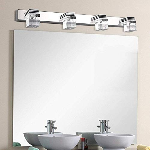 LOKKRG Luz de Espejo para baño, Luces de tocador de Cristal, Cristal de Acero Inoxidable, luz de tocador sobre Espejo para Dormitorio, Sala de Estar, Restaurante, 62cm-WhiteLight