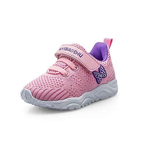 Zapatos Bebe Niña Deportivas Niña Velcro Chicas Tenis Bambas Zapatillas de Correr Unisex Calzado Gimnasio Caminar Diariamente Zapatos Atléticos Interior y Exterior Lindo Moda Rosa Talla 23