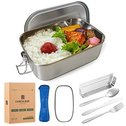 DecoHaus Praktische Edelstahl Bento Box mit Besteck und Bestecktasche - Zero Waste Edelstahl Brotdose und Meal prep Behälter für Kinder und Erwachsene - Auslaufsichere Lunch Box mit Fächern