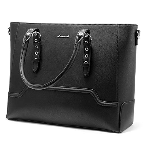 Handtasche Damen Laptop Tasche 15.6 Zoll Laptoptasche Business Schultertasche Damen Shopper Tasche für Interview/Arbeit/Geschäft/Hochschule -A-Schwarz