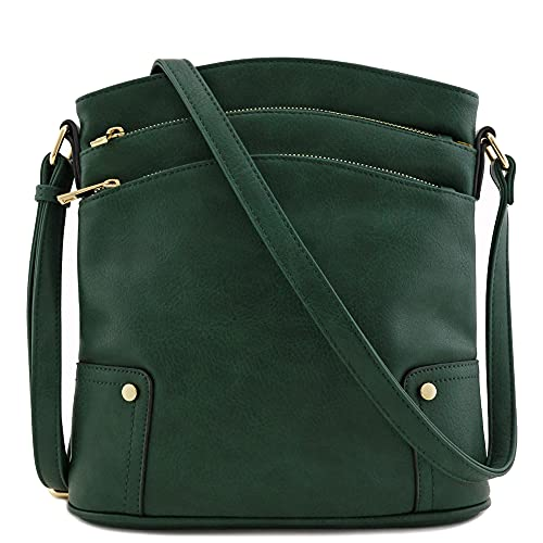 Triple Zip Pocket Large Crossbody Bag (Hunter Green)