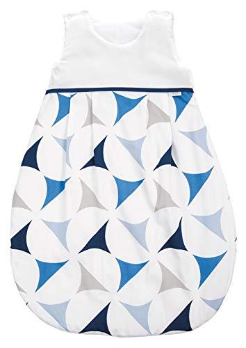 ZEWI bébé-jou Baby Winterschlafsack, 100% Baumwolle Satin, Größe: 50/56 (0-2 Monate Neugeborene), Navy Sails