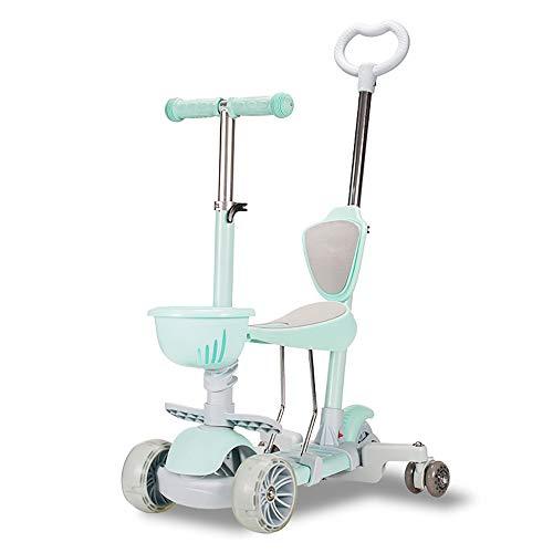 Kick Scooter Multifuncional, Altura Ajustable, Asiento móvil, con Extra-Ancha de la PU Ruedas Intermitente, para niños de 1 a 12 años de antigüedad,Verde