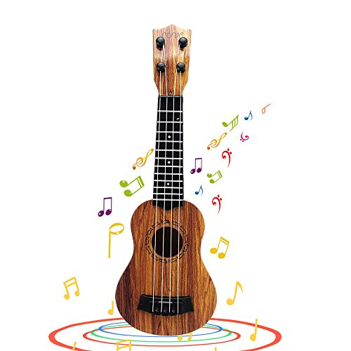QDH Kids Toy Ukulele, Kids Guitar Musical Toy,15 Inch 4 Strings, with Pick, Kids Play Early Educational Learning Musical Instrument Gift for Preschool Children, Ages 2-5(Wooden Color) (15inch)