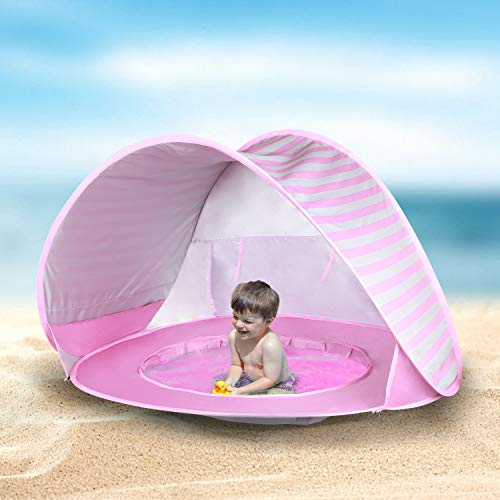 Kinbor Baby Beach Tent Pop Up Portable Shade Pool 50+ UPF UV Protection Sun Shelter for Infant