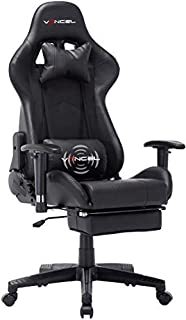 Gaming Chair Office Desk Chair High Back Computer Chair Ergonomic Adjustable Racing Chair Executive PC Chair with Headrest,Massager Lumbar Support & Retractible Footrest (Black)