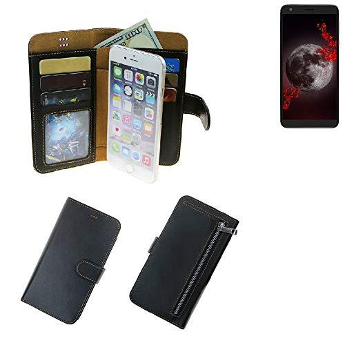 K-S-Trade® Schutzhüll Für Sharp Aquos B10 Schutz Hülle Portemonnaie Case Phone Cover Slim Klapphülle Handytasche E Handyhülle Schwarz Aus Kunstleder (1 STK)