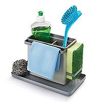 Ideal um alle Spülutensilien an einem Ort zu organisieren Mit 2 ausziehbaren Bügeln für Schwämme oder Spültücher Der Behälter/Besteckabtropfkorb kann in 5 verschiedenen Positionen auf das Anti-Rutsch-Tablett gesteckt werden