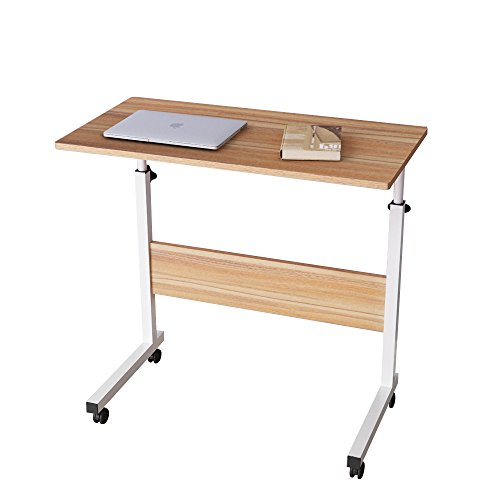 DlandHome 80 * 40 cm Ajustable Mesa de Ordenador Portatil con Ruedas Sofá Mesa Mesas de Centro, Roble