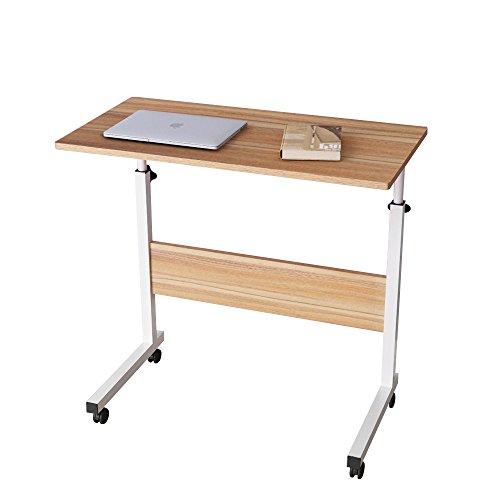 sogesfurniture Mesa Portátil Ordenador Ajustable con Ruedas, 80 * 40cm Mesa sofá Mesa de Escritorio para Cama o Sofá, Roble 05#1-80OK-BH
