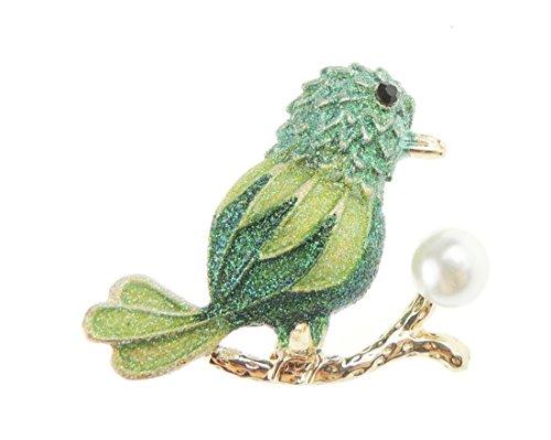Glamour Girlz dames mannen glitter faux parel zomer bruiloft avond broche groene specht vogel op tak