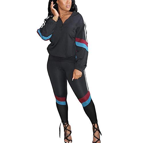 Damen-Trainingsanzug-Set, langärmelig, Farbblock-Reißverschluss, Patchwork, zweiteilig, Outfit, Jogginganzug, Sportbekleidung Gr. 38, Schwarz