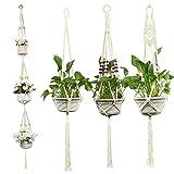 Colgador de Macramé para Plantas, Orangeone Paquete de 4 Colgadores de Cuerda...