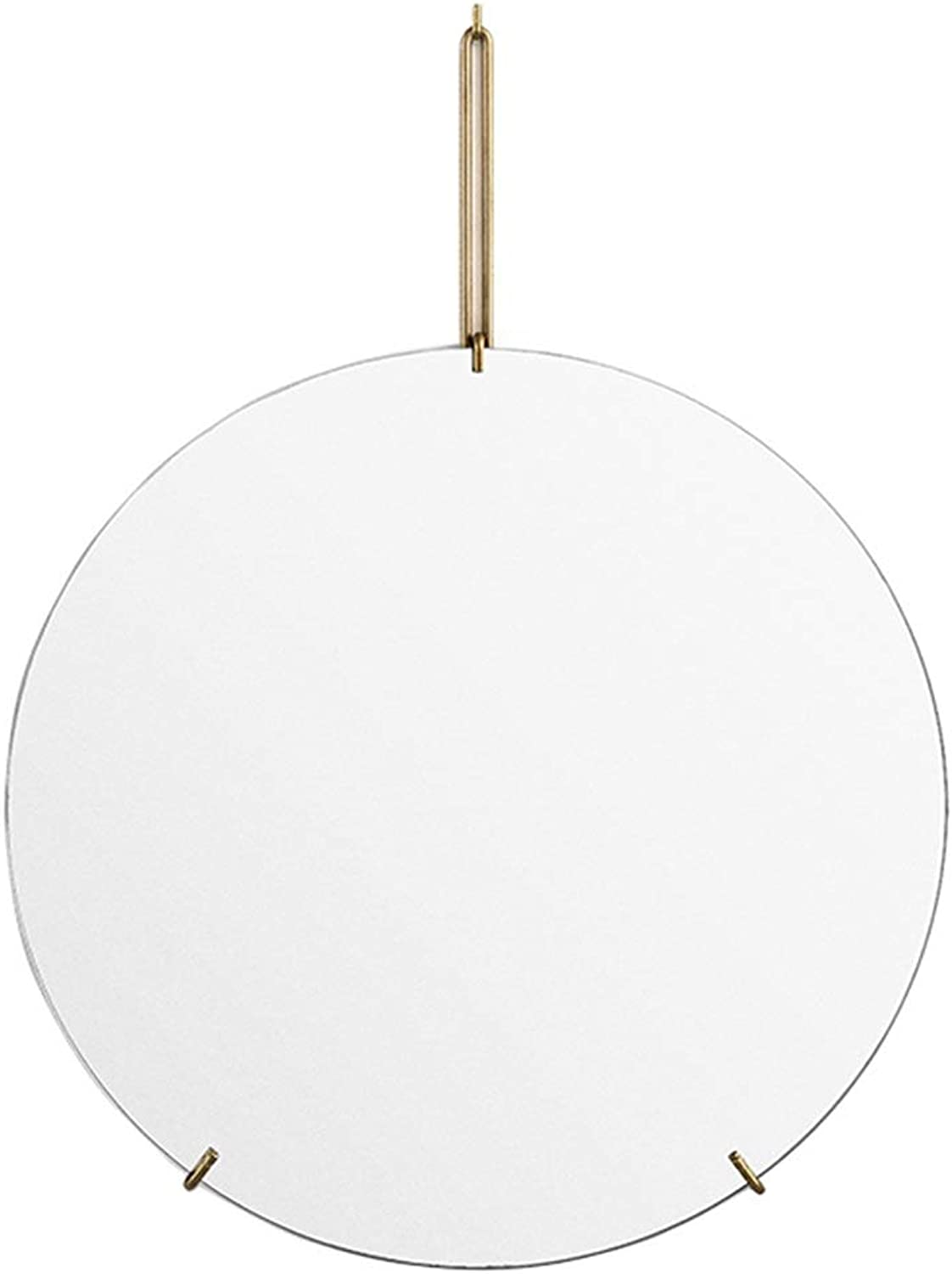 Round Wall Mirror Hanging Metal Makeup Mirrors Bathroom Nordic Shaving Iron Mirrors Decorative for Apartment Living Room Bedroom
