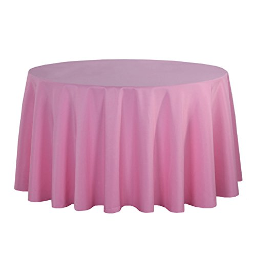 LSHEL Nappe Rectangulaire Antitache Polyester Couleur Pure Nappe Ronde Décoration De Table/Fête, Rose, Rond 360cm