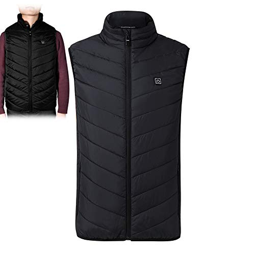 Electric Heating Vest Mens Heated Jacket Sleeveless USB Charge Warm Body Breathable Lightweight Coat Clothing Outdoor Sporting WashableXL Black