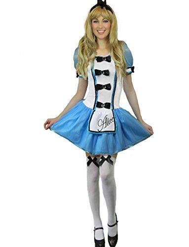 Yummy Bee Disfraz de Alicia en el país de Las Maravillas Fiesta de Disfraces Mujer Alice in Wonderland Talla Grande 34 - 46 (Mujer: 38 - 40)