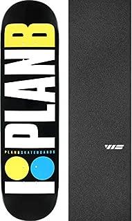 Plan B Skateboards OG Neon Black/White/Yellow/Blue Skateboard Deck - 7.75