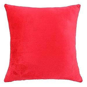 Funnie Funda de Cojín de Color sólido Square Decorativos Felpa Funda de Almohada para Hogar Dormitorio Sofá Coche Cama Fundas de Cojines Rojo 30X50CM