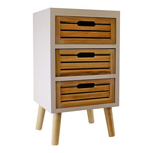 HoitoDeals 1 unidad de almacenamiento de madera natural con 3 cajones con patas extraíbles para uso doméstico