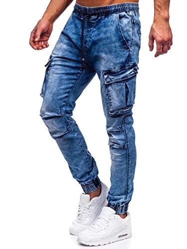 BOLF Uomo Pantaloni Jeans Jogger Cargo Denim Coulisse Elasticizzati Tempo Libero Gamba Stretta Slim Fit Casual Style DROMEDAR TF050 Blu M [6F6]