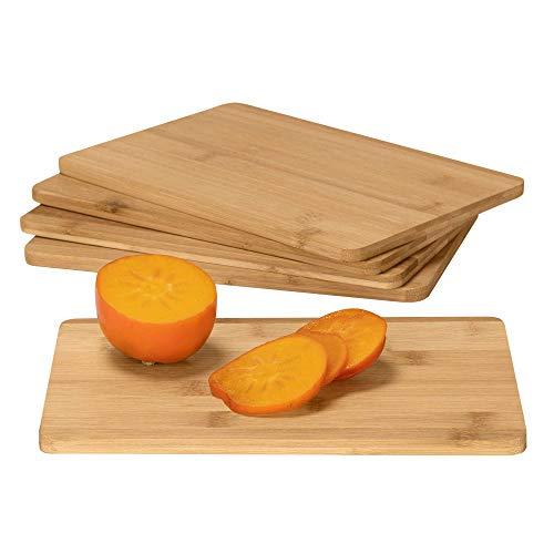 RSW24 5 taglieri da colazione, 25 x 17 cm, in bambù, facile da pulire, colore naturale