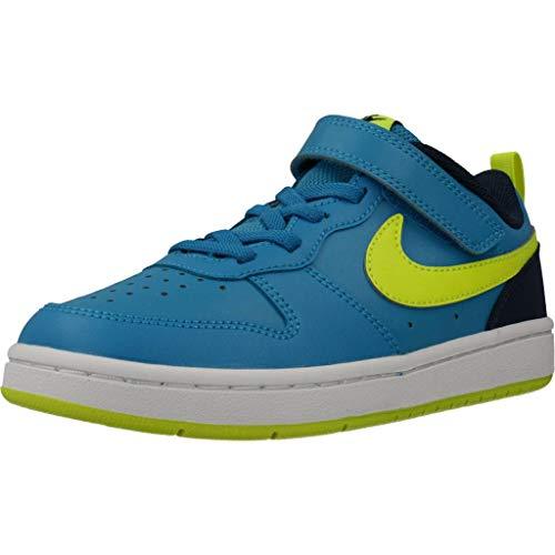 Nike Court Borough Low 2, Scarpe da Corsa Unisex-Bambini, Laser Blue/Veneno Limón/Azul Marino Medianoche, 32 EU