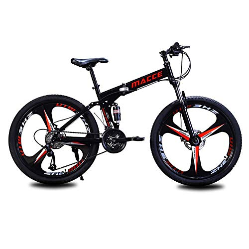 26 'Bicicleta de senderos de montaña, bicicleta de montaña adulta, bicicletas de alto contenido de carbono, bicicletas, 21 velocidades, suspensión completa, frenos de disco dual, 3 ruedas de cuchillo