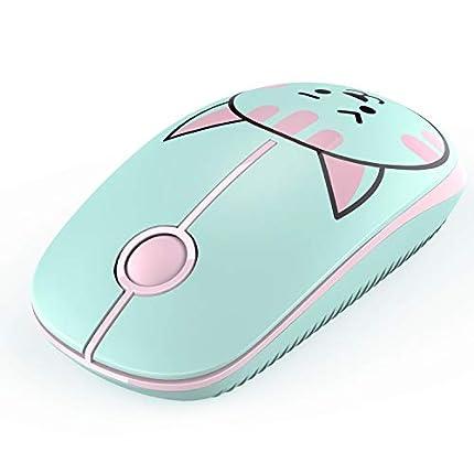 Jelly Comb Ratón Inalámbrico de 2,4 GHz Ratón silencioso con Mini Receptor USB para PC/Ordenador Portátil/Tableta, Preciso y Silencioso (Gatito Verde)
