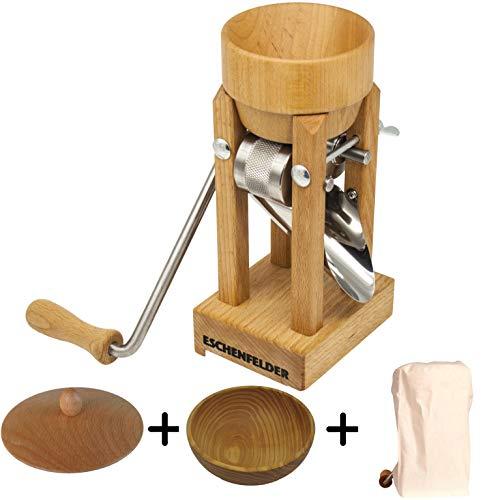 Eschenfelder Kornquetsche | Flocker | Tischmodell mit Holz- & Alu-Trichter | Flockenquetsche | Buche | made in Germany (Komplett-Set-Holz)