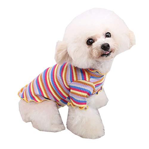 Lente huisdier kat kleedt gestreept hemd hondenkleding huisdier-hondenkleding puppy vest-t-shirt schattige regenboog pyjama katten winter