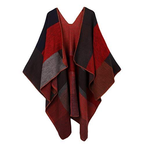 joyMerit Manta de Capa de Moda de Punto a Cuadros Mujer Poncho de Abrigo de Invierno Mantón Delantero Abierto - rojo, Única