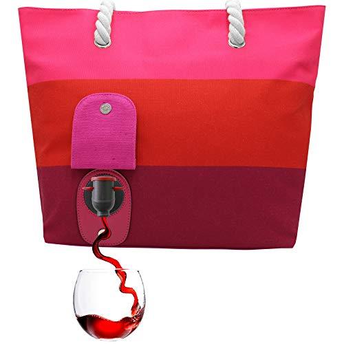 PortoVino Weintasche (Sangria) - Modisch mit verstecktem, isoliertem Fach für 2 Flaschen Wein aug dem Weg!