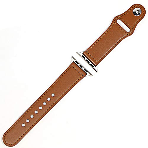 HGGFA Genuine Leather Loop Strap For Apple Watch Band 42mm 44mm Watch 4 5 38mm 40mm Iwatch 3/2/1 Correa Replacement Bracelet (Band Color : Light brown silver, Band Width : 40MM)