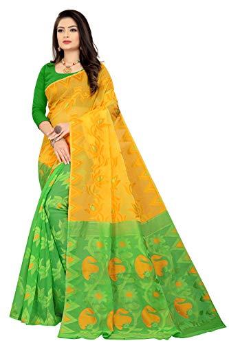 Entaro International Dhakai Jamdani Handloom Woven Pure cotton Soft Silk Light weight Half & Half Transparent Saree for Women's with Blouse Piece