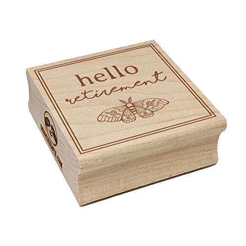 Hello Retirement Artsy Floral Moth Square Rubber Stamp for Stamping Crafting - 1.75in Medium