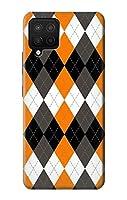 JP3421A12 黒 オレンジ 白 アーガイルプラッド Black Orange White Argyle Plaid Samsung Galaxy A12 ケース