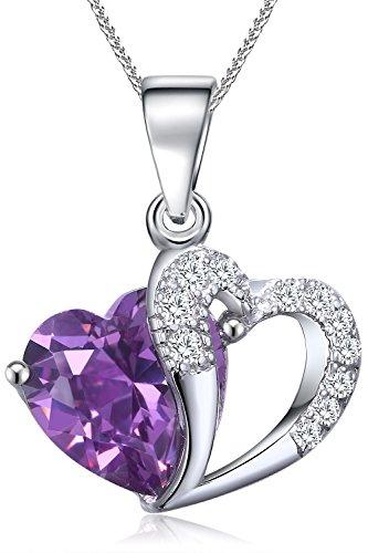 FLORAY Donna o Ragazza cuore collana del pendente.Cristallo Viola. Catene in argento Sterling.Bella Scatola Gioielli Blu.