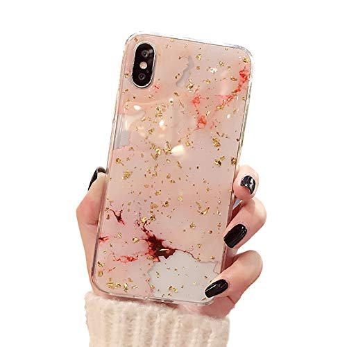 CXvwons Coque iPhone XS, Coque iPhone XS Max Élégant Bling Bling Housse de Protection Case Silicone Anti-Rayures Anti Choc Housse Étui pour Apple iPhone XS/XS Max/XR (iPhone XS, 7 Rose)
