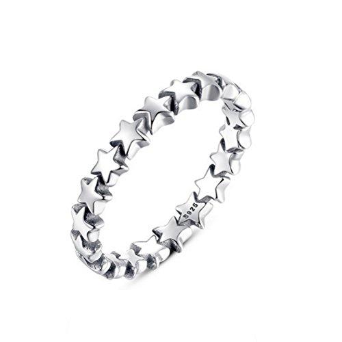OULII Anillo de dedo de plata del anillo de estrella de las mujeres del anillo de plata de la joyería del anillo de la estrella del Pentagram de cinco puntas - talla 9 (plata)