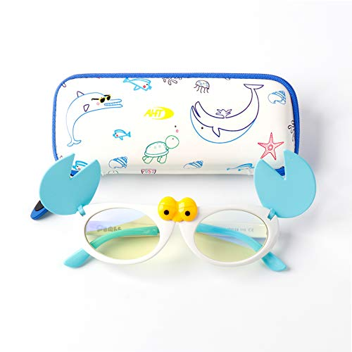 AHT Blue Light Blocking Glasses Kids Boys Girls - Cartoon Crab Foldable Frame, Filter Blue Ray Eyeglasses (Age 3-12 Blue-White), Anti Eyestrain & UV Glare, Non Prescription, Gift