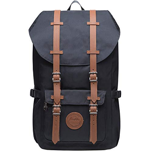 KAUKKO Vintage Rucksack mit Laptopfach für 14 Zoll für Business Wandern Reisen Camping, 19.7 L, 28 * 15 * 47 cm (Schwarz JNL-EP5-11-03)