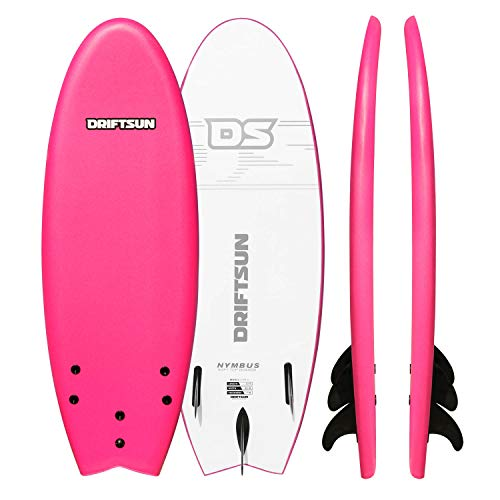 "Driftsun Nymbus Blue Foam Surfboard - 72"" x 20"" Surfboard with EPS Foam Core and 3 Removable Fins"