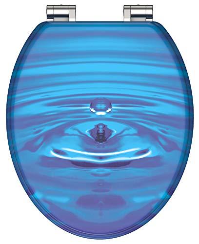 SCHÜTTE 80125 BLUE DROP WC-Sitz Absenkautomatik aus Holz, Toilettensitz mit Klodeckel, Holzkern Toilettendeckel maximale Belastung der Klobrille 150 kg, Motiv Blau