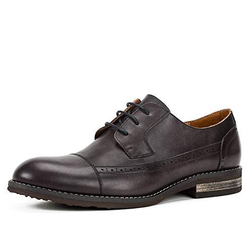 ManYFas Oxfords for Männer Arbeits-Schuhe schnüren Sich Oben echtes Leder Klassische Geschäfts-Kleid Driving Dating Anti-Rutsch-Wohnung Vegan Round Toe Low Top handgefertigt