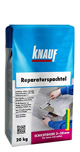 Knauf Reparatur-Spachtel, Ausgleichs-Masse, 20-kg – Spachtel-Masse, Ausgleichs-Spachtel, schnell erhärtend, spannungsarm, frostsicher und für 3-mm bis 50-mm Schichtdicken