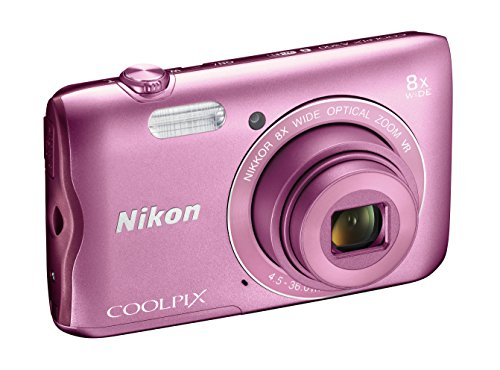 Nikon Coolpix A300 Fotocamera Digitale Compatta, 20.1 MP, Zoom Wide 8x, VR, Filmati HD, Bluetooth, Wi-Fi, Rosa [Nital Card: 4 Anni di Garanzia]
