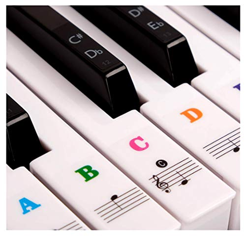 Piano Stickers for Keys - Color Piano Keyboard Stickers For 88/61/54/49 - Removable with Numbers, Leaves No Residue, User Guide ,Perfect for the Beginners