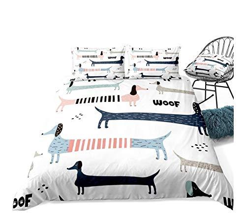 ZMK-720 Bedding Bed Sheets 3pcs Bedding Colorful Sausage Dog Duvet Cover Set Bed Set Cartoon Pet Quilt Cover White Dropship (Color : 01, Size : AU Single)